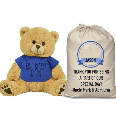 Blue Shirt Ring Bearer Teddy Bear and Gift Bag 8 or 16 inch Tan Plush for Wedding Party Add Custom Name Wedding Thank You Message Proposal