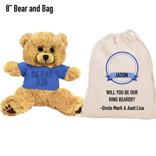 Load image into Gallery viewer, Blue Shirt Ring Bearer Teddy Bear and Gift Bag 8 or 16 inch Tan Plush for Wedding Party Add Custom Name Wedding Thank You Message Proposal