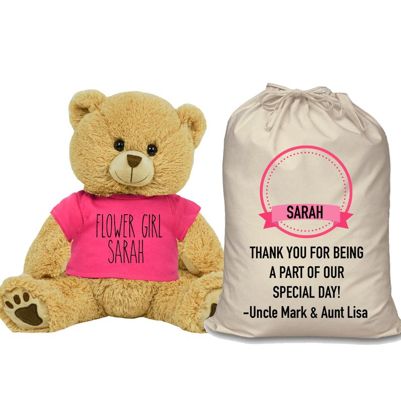 Pink Shirt Flower Girl Teddy Bear and Gift Bag 8 or 16 inch Tan Plush for Wedding Party Add Custom Name Wedding Thank You Message Proposal