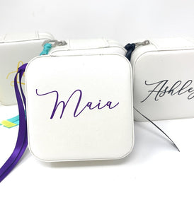 Personalized Jewelry Case Soft Leatherette for Travel Bridesmaid Mother's Day Birthday Gift Choose Custom Text Name Ribbon Color Ivory White
