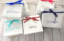 Load image into Gallery viewer, Personalized Bridesmaid Proposal Box Available in 15 Colors! Choose Custom Text Name Ribbon Color White with Embossed Name Will You Be