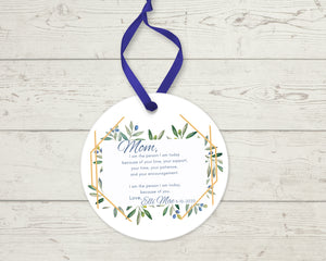 Personalized Mother Thank you Gift, As I Say I Do Ceramic Round Ornament with Ribbon, Wedding Keepsake Quote, Hexagon and Greenery Design