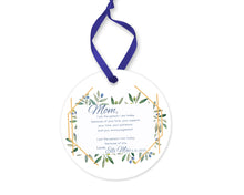 Load image into Gallery viewer, Personalized Mother Thank you Gift, As I Say I Do Ceramic Round Ornament with Ribbon, Wedding Keepsake Quote, Hexagon and Greenery Design