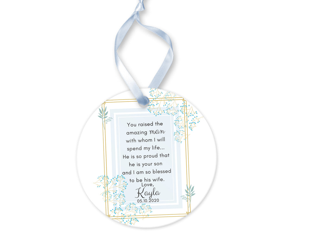 Personalized Mother of Groom Thank You for Your Son Gift, Ceramic Round Ornament with Ribbon, Wedding Keepsake Quote, Baby Blue Design