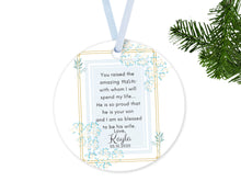 Load image into Gallery viewer, Personalized Mother of Groom Thank You for Your Son Gift, Ceramic Round Ornament with Ribbon, Wedding Keepsake Quote, Baby Blue Design
