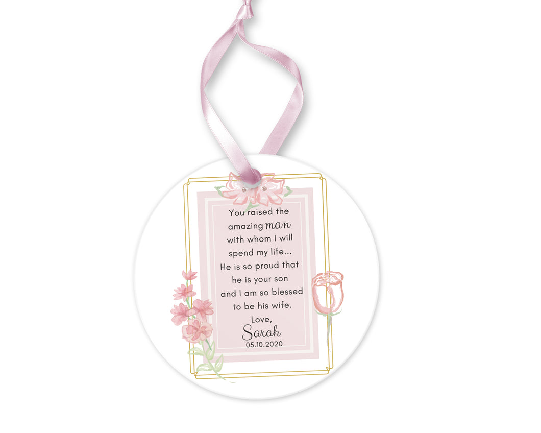 Personalized Mother of Groom Thank You for Your Son Gift, Ceramic Round Ornament with Ribbon, Wedding Keepsake Quote, Light Pink Design