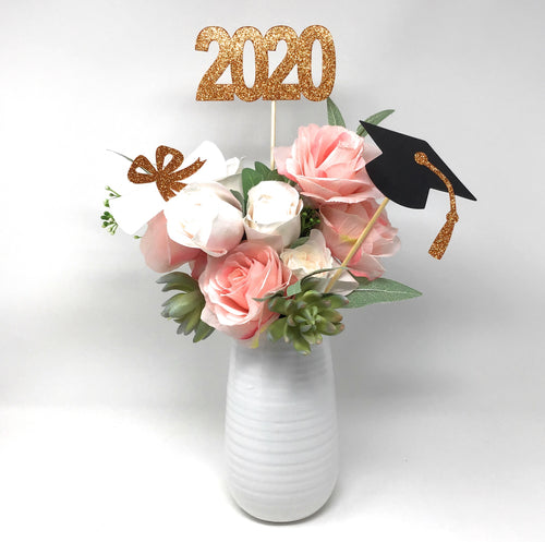 Orange 3 piece set of School Colors Centerpiece Sticks including Diploma, Grad Cap, 2020 for DIY Graduation Decor