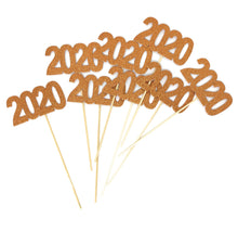 Load image into Gallery viewer, Orange 8 pack of Double Sided Glitter 2020 Centerpiece Sticks in Various Colors for DIY Graduation Centerpiece and Grad Party Decor