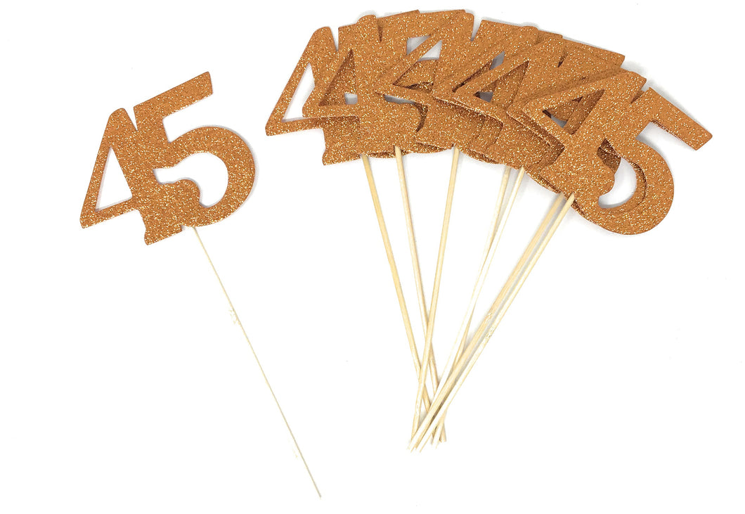 Orange Number 45 Double Sided Centerpiece Sticks Set of 8 Real Glitter