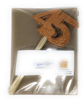 Load image into Gallery viewer, Orange Number 45 Double Sided Centerpiece Sticks Set of 8 Real Glitter