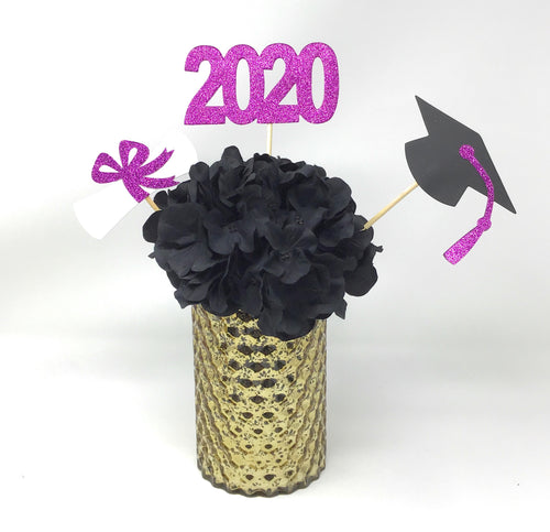 Purple 3 piece set of School Colors Centerpiece Sticks including Diploma, Grad Cap, 2020 for DIY Graduation Decor