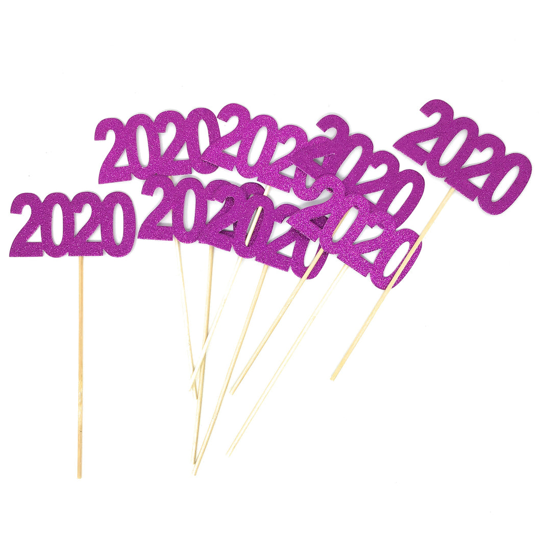 Purple 8 pack of Double Sided Glitter 2020 Centerpiece Sticks in Various Colors for DIY Graduation Centerpiece and Grad Party Decor