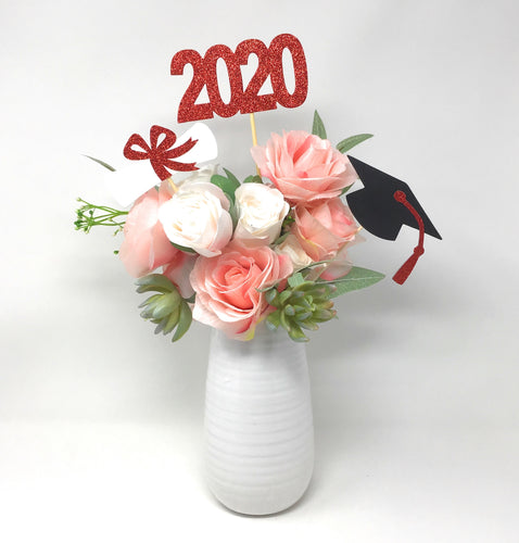 Red 3 piece set of School Colors Centerpiece Sticks including Diploma, Grad Cap, 2020 for DIY Graduation Decor