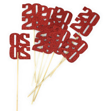 Load image into Gallery viewer, Red 8 pack of 2020 Centerpiece Sticks for DIY Graduation Centerpieces and Grad Decor