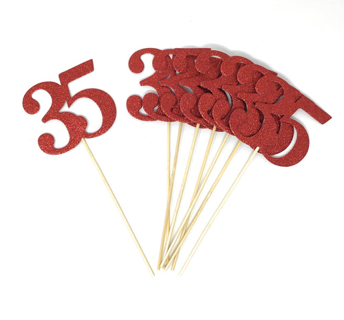 Red Number 35 Double Sided Centerpiece Sticks Set of 8 Real Glitter