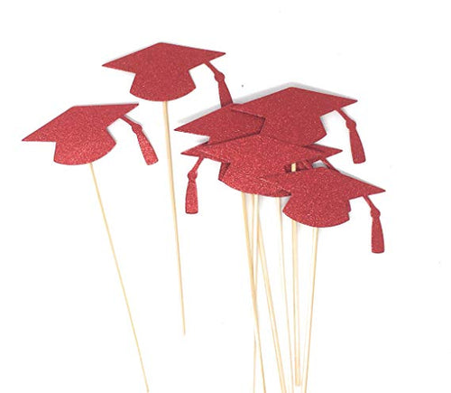 Red Grad Hat Centerpiece Sticks DIY Graduation Decor Double Sided Glitter 8 Pack