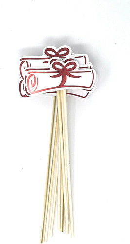 Red Double Sided Graduation Diploma Centerpiece Sticks Set of 8 Diploma Picks Floral Picks Metallic Foil