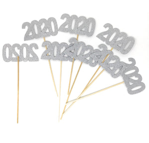 Silver 8 pack of Double Sided Glitter 2020 Centerpiece Sticks in Various Colors for DIY Graduation Centerpiece and Grad Party Decor