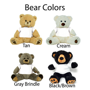 "Black Brown Colored Graduation Personalized 16"" Teddy Bear Choose School Colors"