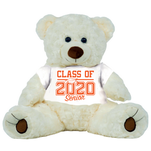 "Cream Colored Graduation Personalized 16"" Teddy Bear Choose School Colors"