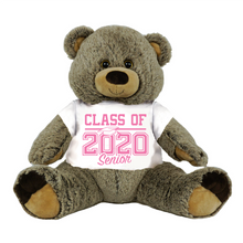 "Load image into Gallery viewer, Gray Colored Graduation Personalized 16"" Teddy Bear Choose School Colors Personalized Name College High School Graduates Custom Gift Senior Class of 2020"
