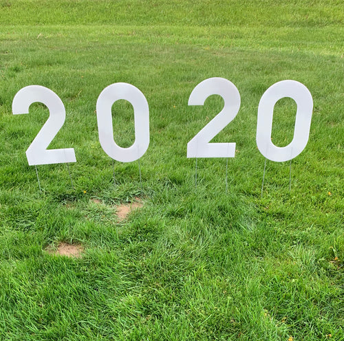 White 2020 Lawn Letters Graduation Year Numbers Yard Sign Custom School Colors Available-Stakes Included