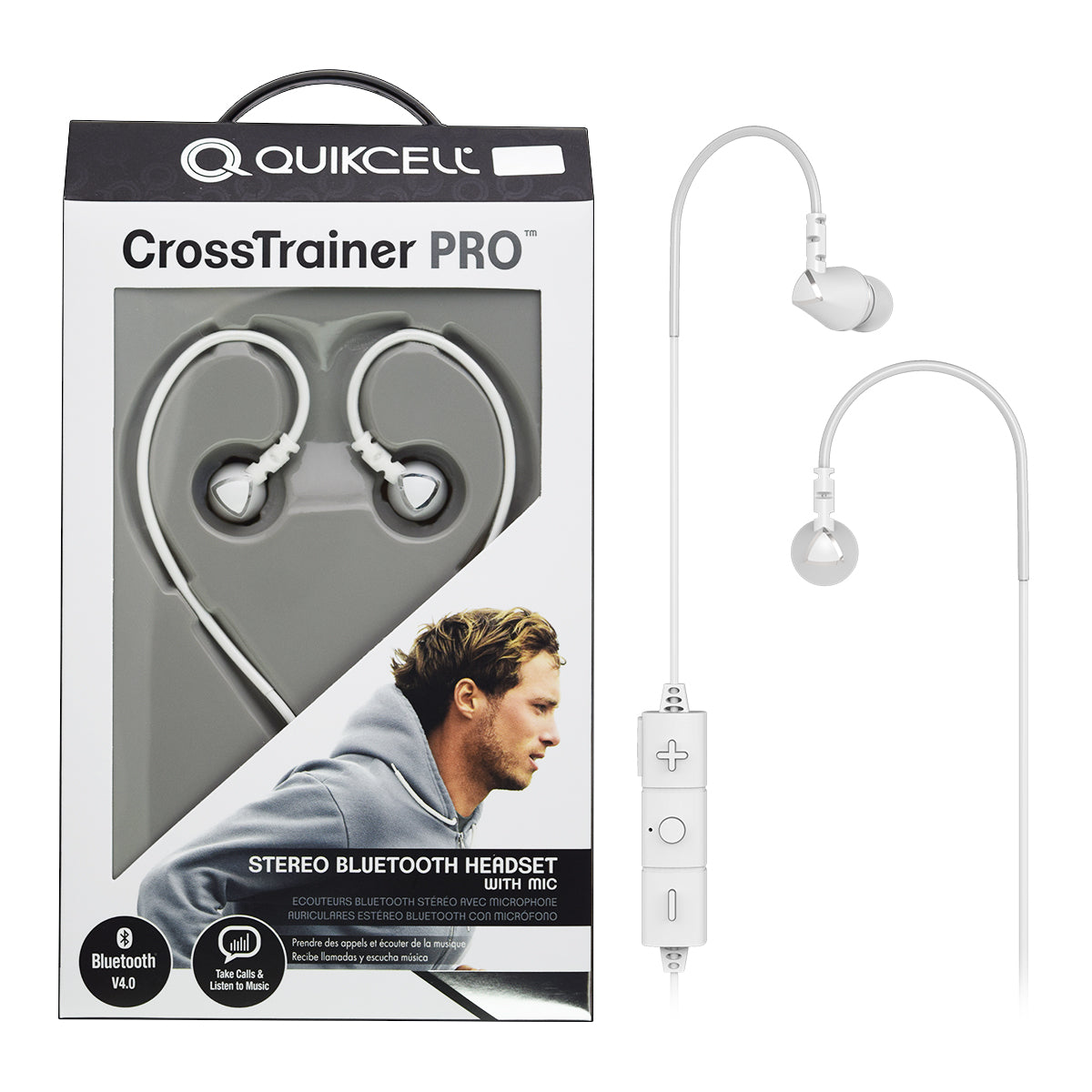 Quikcell Crosstrainer Pro Stereo Bluetooth Headset With Mic White Pickers Target