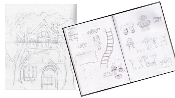 Sketches of a fairytale dollhouse