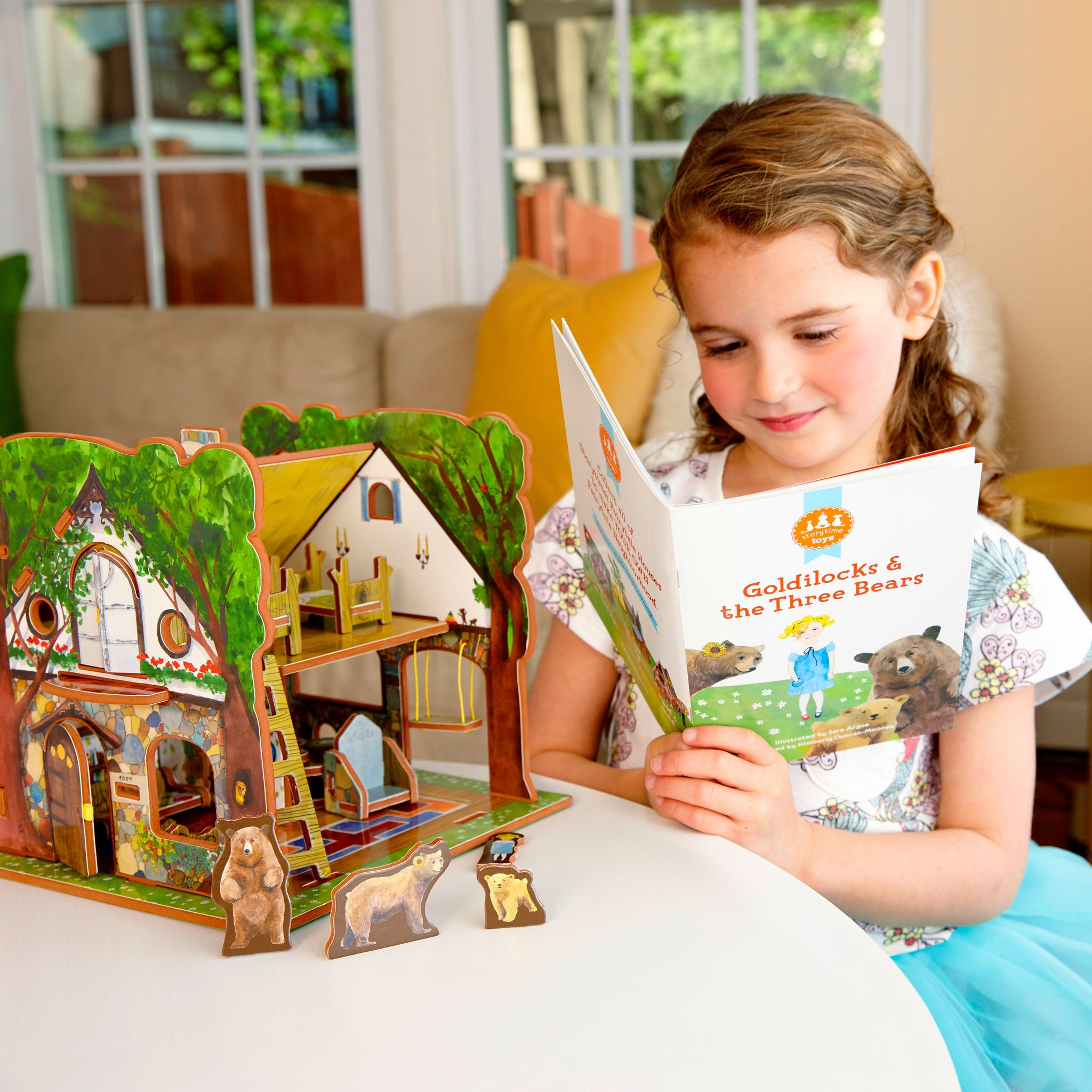 Little Girl Reading Storytime Toys Goldilocks