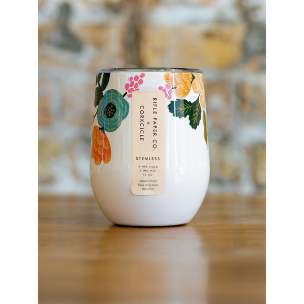 RIFLE PAPER CO x CORKCICLE 12 oz STEMLESS WINE GLASS - GLOSS CREAM FLORAL