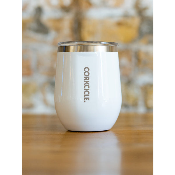 CORKCICLE 12 oz STEMLESS WINE GLASS - GLOSS WHITE