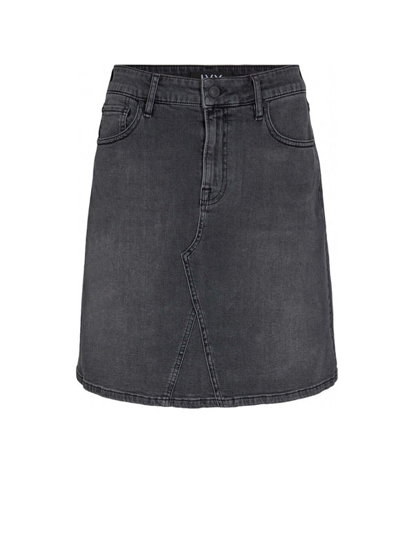 ANGIE DENIM SKIRT CHARCOAL BLACK