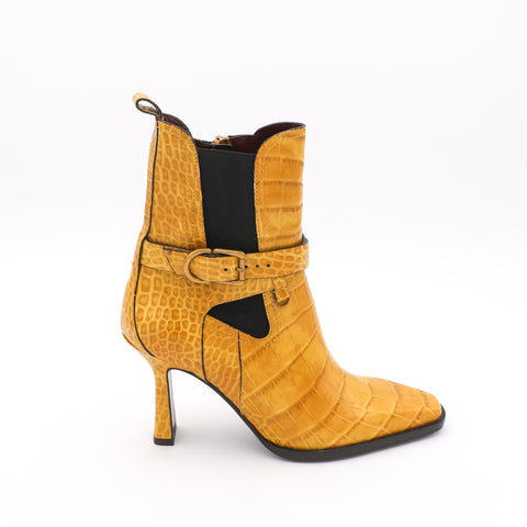 Leather Croc-Embossed Ankle Boot