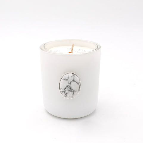 Scented Candle + Howlite Vessel