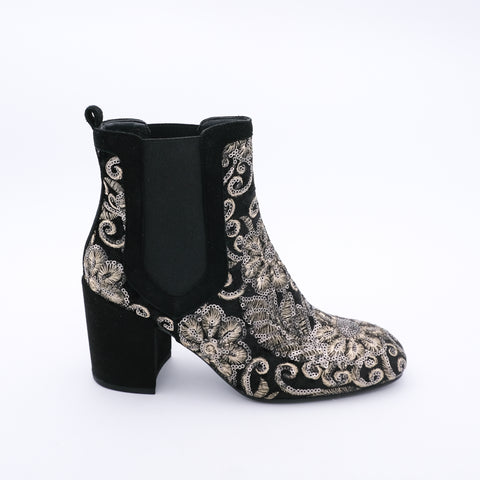 Sequin Embroidered Ankle Boot