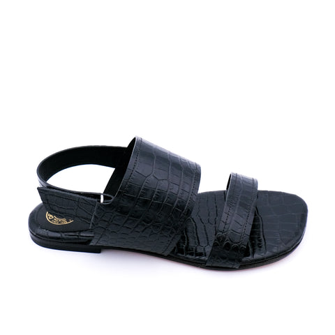 Croc Embossed Leather Sandals