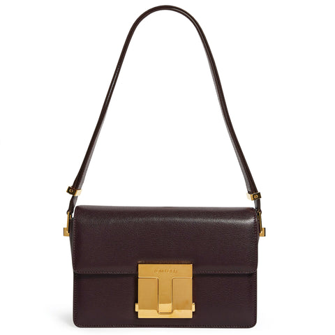 T-Clasp Leather Shoulder Bag