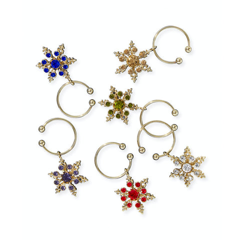 Snowflake Jewel Wine Charms