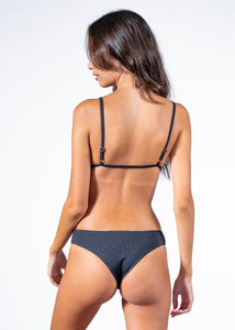 SUNDAZE BIKINIS CHEEKY BOTTOM BLACK ECO-RIB