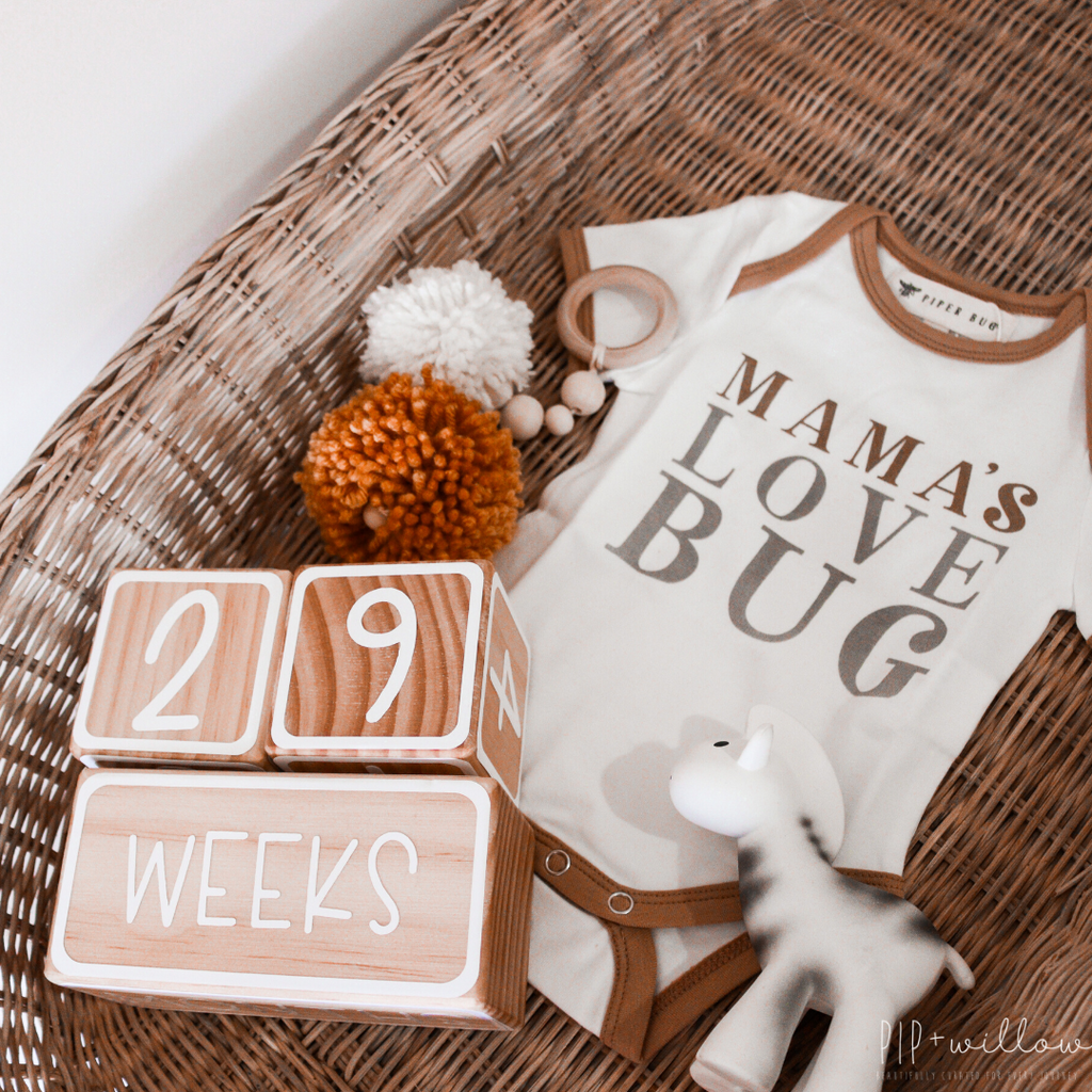 Wooden Milestone Block Set - Baby + Pregnancy