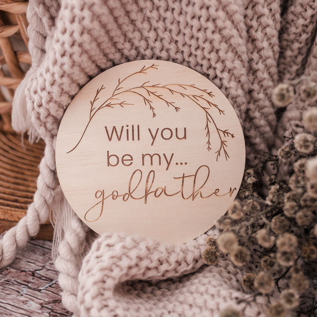 'Will you be my Godfather?' - Wooden Godparent Proposal Disc