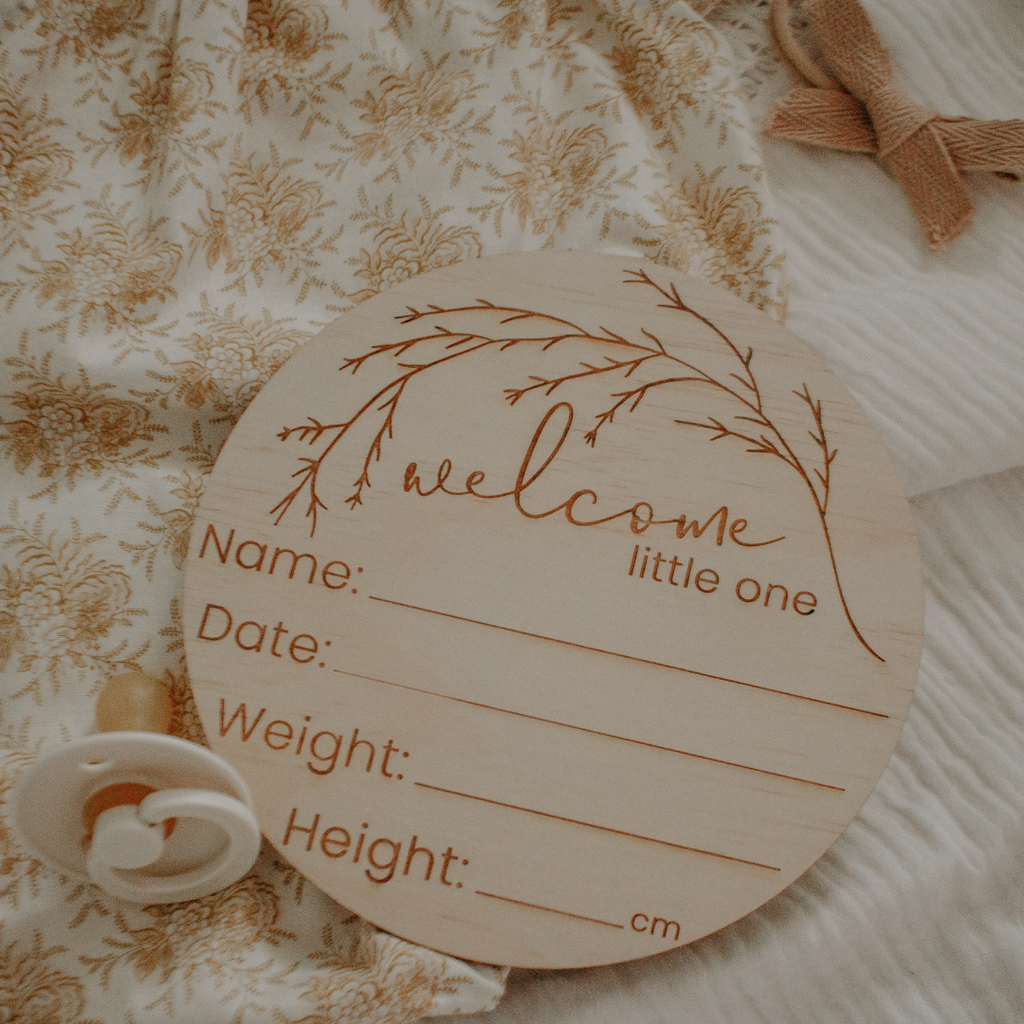 'Welcome Little One' - Wooden Birth Announcement Disc