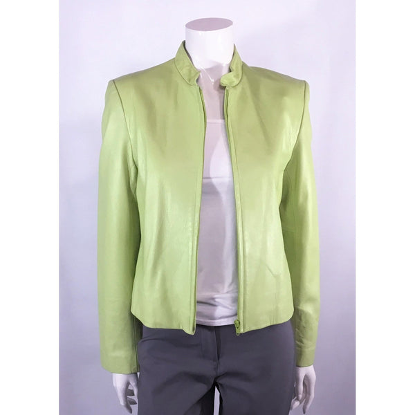 Ocean West Light Green Leather Jacket - Discoveries size S, M
