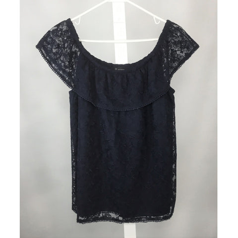 Lily Morgan navy lace blouse