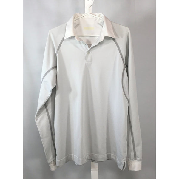 Long Sleeve Grey and White Golfing Shirt - size M, L