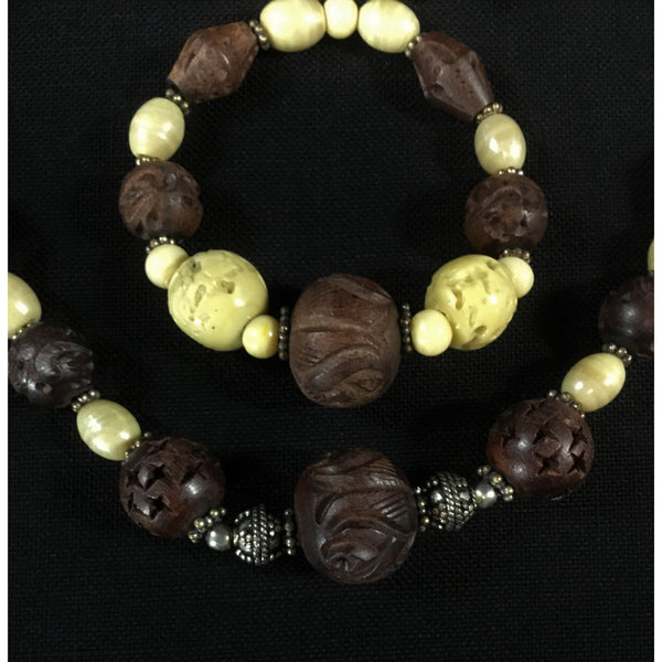 Carved Brown Bead Jewelry Set