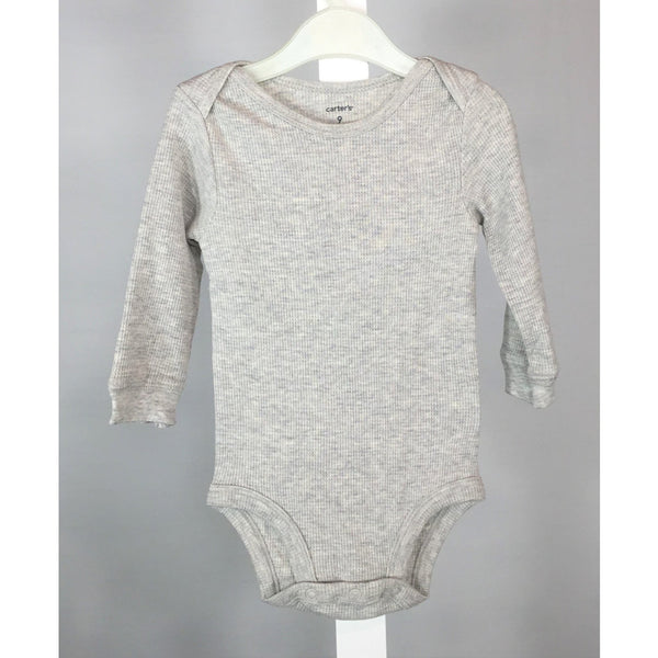 Carter's Long Sleeve Grey Onesie - size 9 months