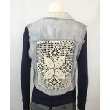 Aeropostale denim vest crochet back view