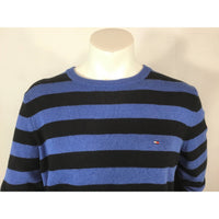 Tommy Hilfiger Black and Blue Striped Sweater - size M/L