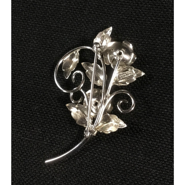 Silver Tone Rose Brooch
